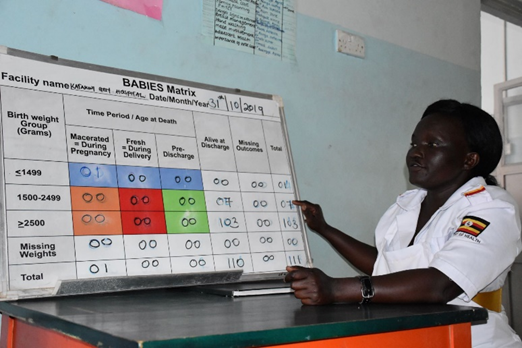 The BABIES matrix is a simplified quality-improvement methodology for collecting and displaying data. It was introduced and implemented by the Katakwi Hospital to improve services. Photo courtesy of Irene Mirembe.