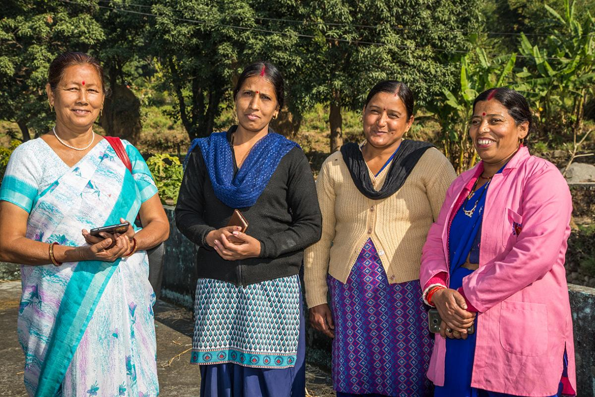 Saraswati and Prabha flank the other two frontline health workers in Aamsaur village