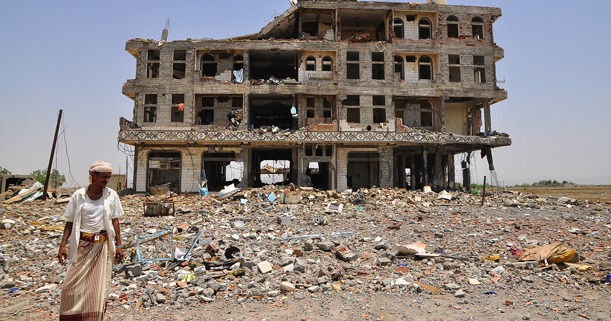 Damaged health facility in Yemen