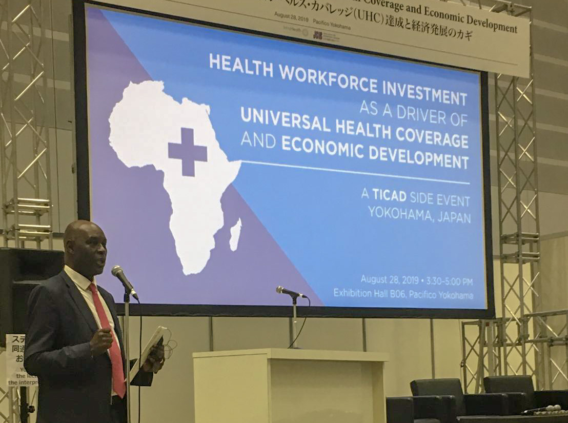 President and CEO Pape Gaye takes the floor at a TICAD side event sponsored by IntraHealth International and Japan Center for International Exchange.
