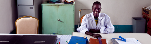 Health worker in South Sudan