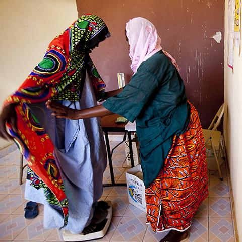 Health worker with client in Mali