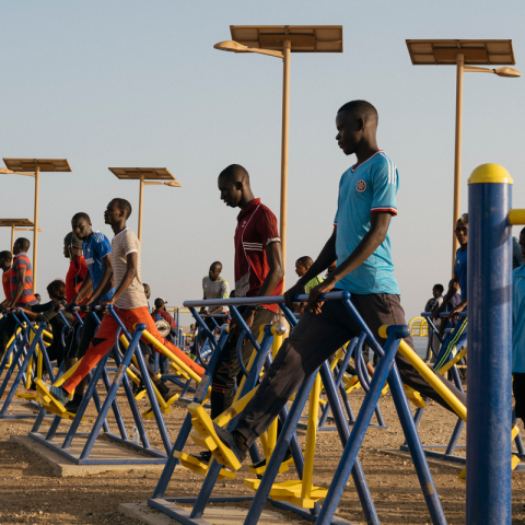 People working out in Dakar