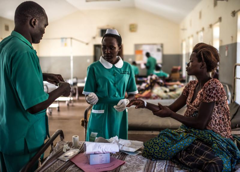 <p>In addition to her primary role caring for patients, Babirye supervises midwifery students completing their practicums at the hospital. Photos by Tommy Trenchard.</p>