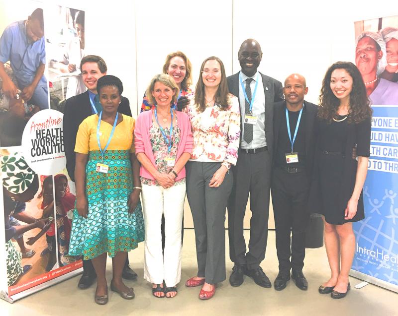 IntraHealth's delegation and colleagues at the 70th World Health Assembly. From left: Vince Blaser, Samalie Kitooleko, Rebecca Kohler, Laura Hoemeke, Kate Tulenko, Pape Gaye, Sanele Madela, and Michelle Korte. Photo courtesy of IntraHealth International.
