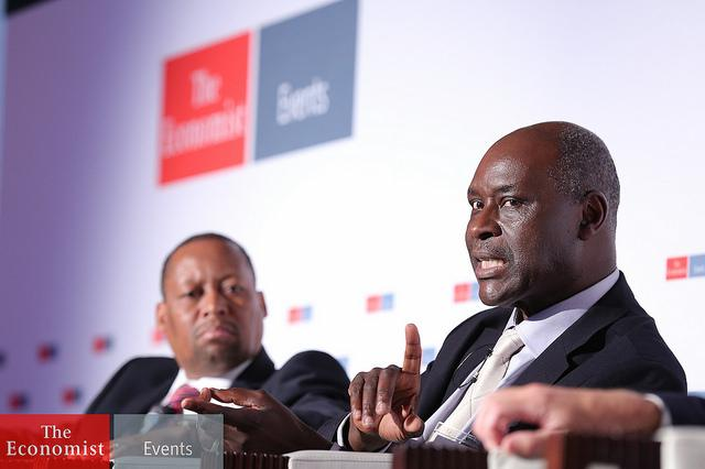 Pape Gaye (right) at the Economist's Innovating Economies Summit in Nairobi, Kenya. Photo courtesy of The Economist.