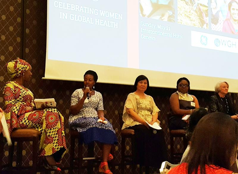 Samalie Kitooleko, second from left, speaks at IntraHealth's Unsung Heroines of Health: Celebration of Women in Global Health event at the 70th World Health Assembly. Photo courtesy of IntraHealth International.