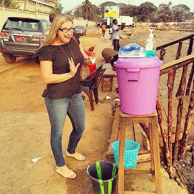 At a handwashing station in Conakry, Guinea. Photo courtesy of Amanda Puckett BenDor