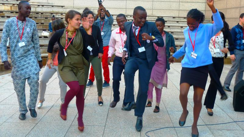 Global youth dance at the beat making session at the International Conference on Family Planning in Addis Ababa, Ethiopia.