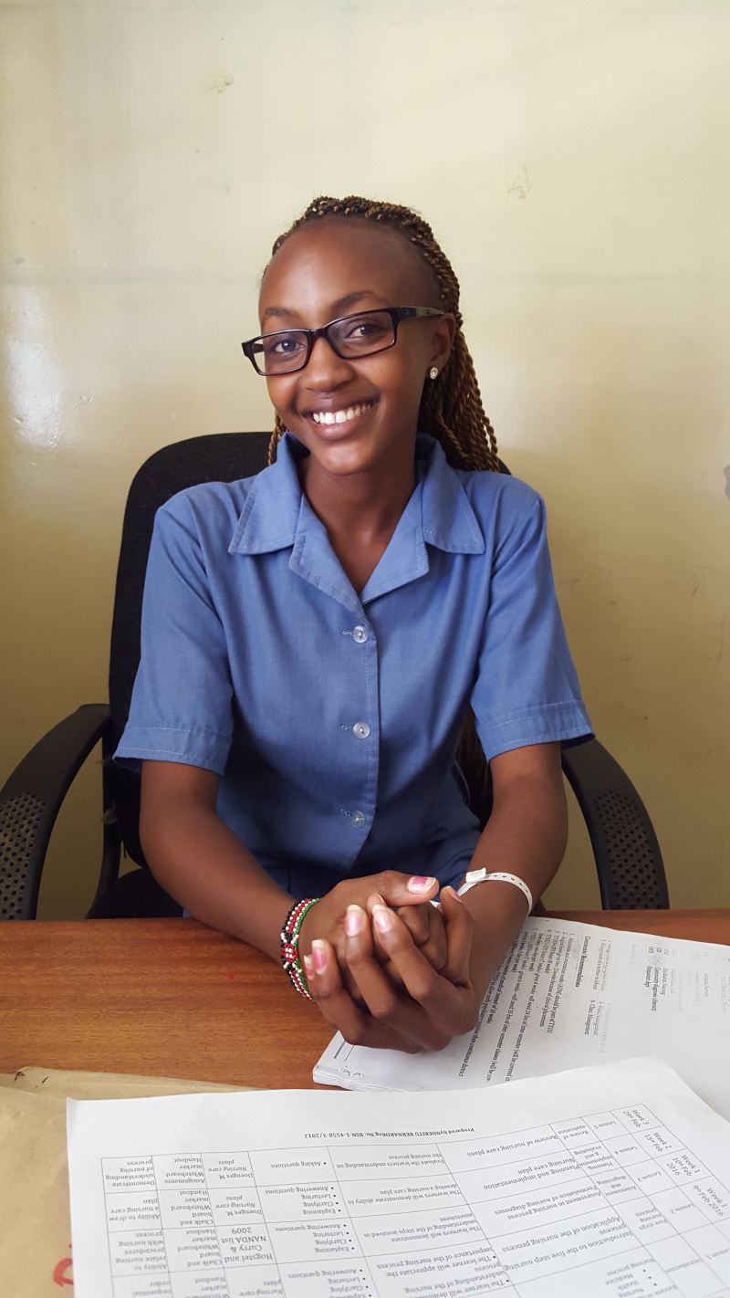Justina Muthoni Kamau, a second-year student working toward her diploma in nursing at KMTC, has completed K4Health's IVR Training on Family Planning. Photo by Nandini Jayarajan.