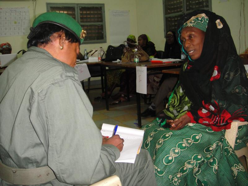 At the workshop in Bamako, Mali, health workers role play during an exercise about how to counsel a victim of sexual or gender-based violence.