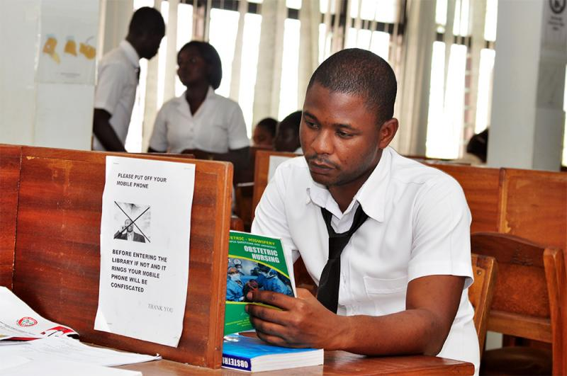 We just liked this image: a male student learning about obstetric nursing. Photo by Carol Bales for CapacityPlus and IntraHealth International.