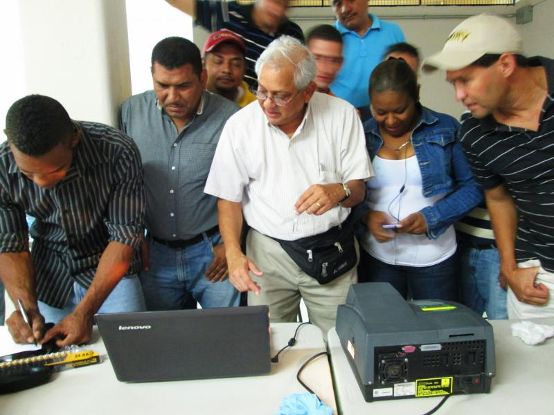 Not only do trained BMETs save lives, they save money. Dr. Ram Ramabhadran teaches Spec calibration in Honduras. Photo courtesy of Engineering World Health.