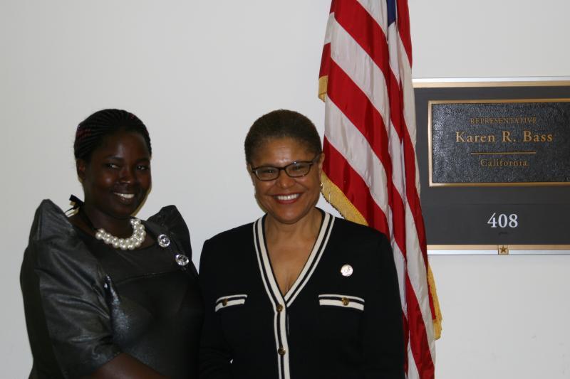 Esther Madudu with Representative Karen Bass on Capitol Hill. Courtesy Amref Health Africa.