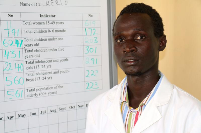 Emmanuel Etabo volunteers at Kerio Health Centre in Turkana. He received a scholarship provided by IntraHealth's FUNZOKenya project to pay his nursing school fees. He graduated in January and now provides family planning, HIV care, and other health services.