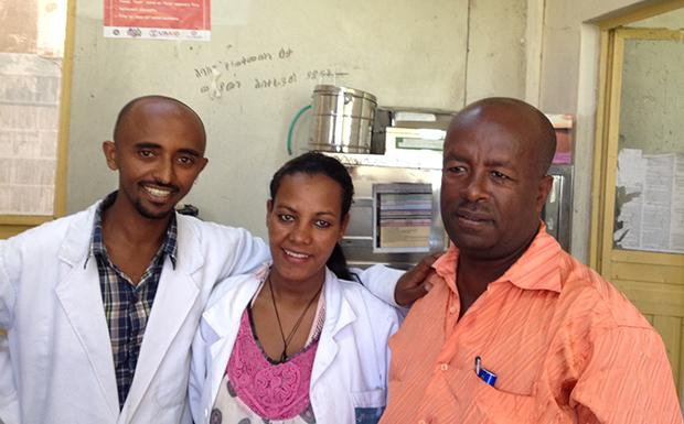 Health center manager Bekalu Afenew, right, with colleagues at Tis Abay in Amhara Region, Ethiopia.