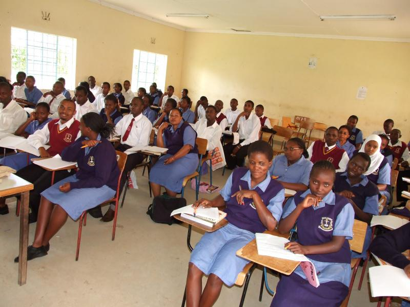 Future nurses studying in a classroom at the Kenya Medical Training College.
