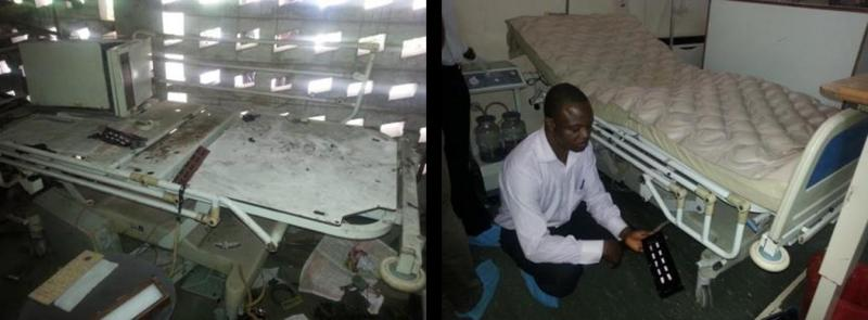 A hospital in Nigeria purchased five intensive care unit beds at a cost of $9,000. However, three of the beds broke down after the warranty had expired. The vendor told them it would cost $6,500 to repair each bed. A team of Engineering World Health BMETs was able to redesign the beds' control panels with a better power supply, new fuses, and simpler controls for a total cost of $275. Photo courtesy of Engineering World Health.