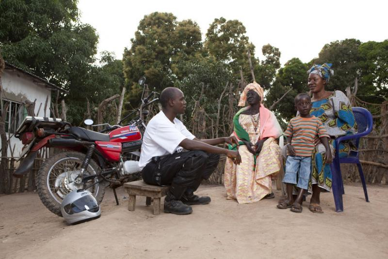 Health workers all over Africa can use reliable motorcycles to reach families who live in rural and isolated places. (Photo courtesy of Riders for Health/Tom Oldham)