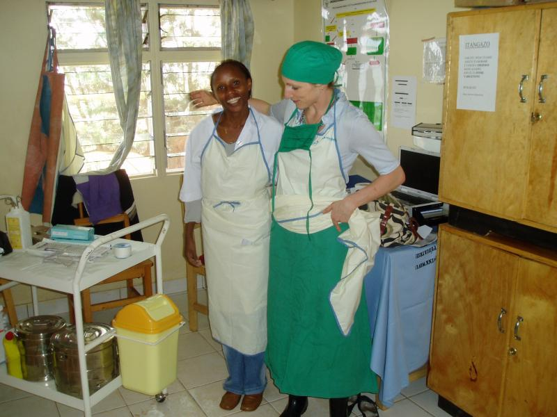Vanessa Kerry, right, with a colleague in Rwanda, where she worked as an OB-GYN.