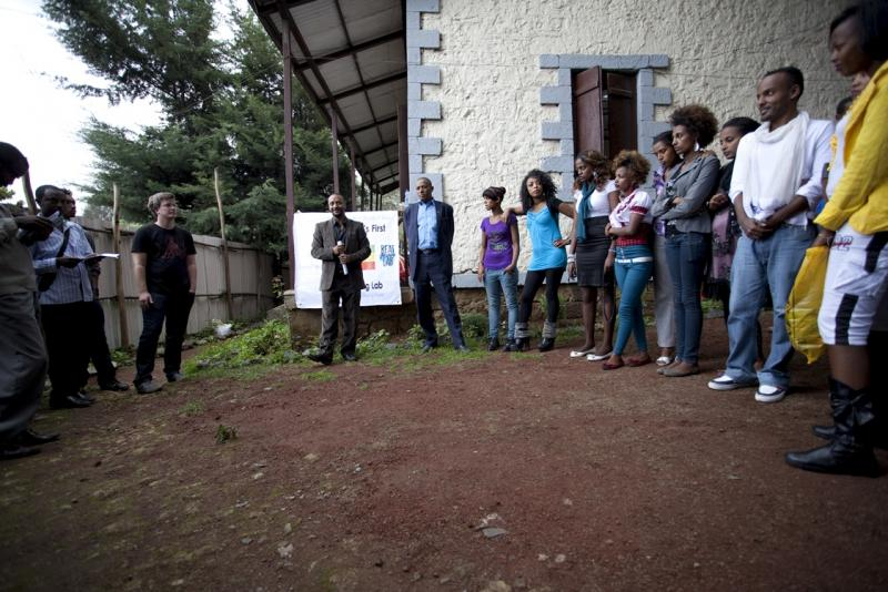 Beat Making Lab participants and IntraHealth staff gather outside of the Addis Ababa studio before getting started.