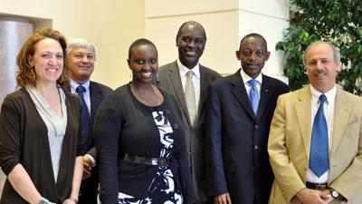 Left to right: Laura Hoemeke, Director of Strategic Communications; Bogdan Leja, International Liaison Officer for UNC Chapel Hill; Carol Rugege, Education Officer for the Rwandan Embassy; Pape Gaye, CEO and President of IntraHealth; James Kimonyo, Rwandan Ambassador to the US; Michel Bezy