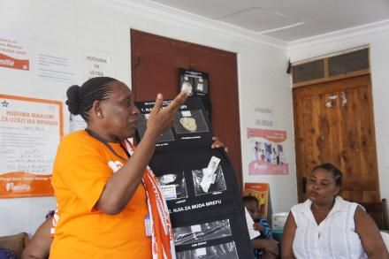 Mama Blandina educates clients about family planning at the Salasala Referral Clinic.