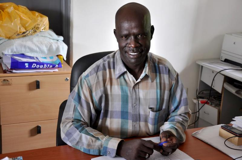 Benjamin Lokio Lemi, ART center administrator, at Juba Teaching Hospital. Photo by Alex Collins for IntraHealth International