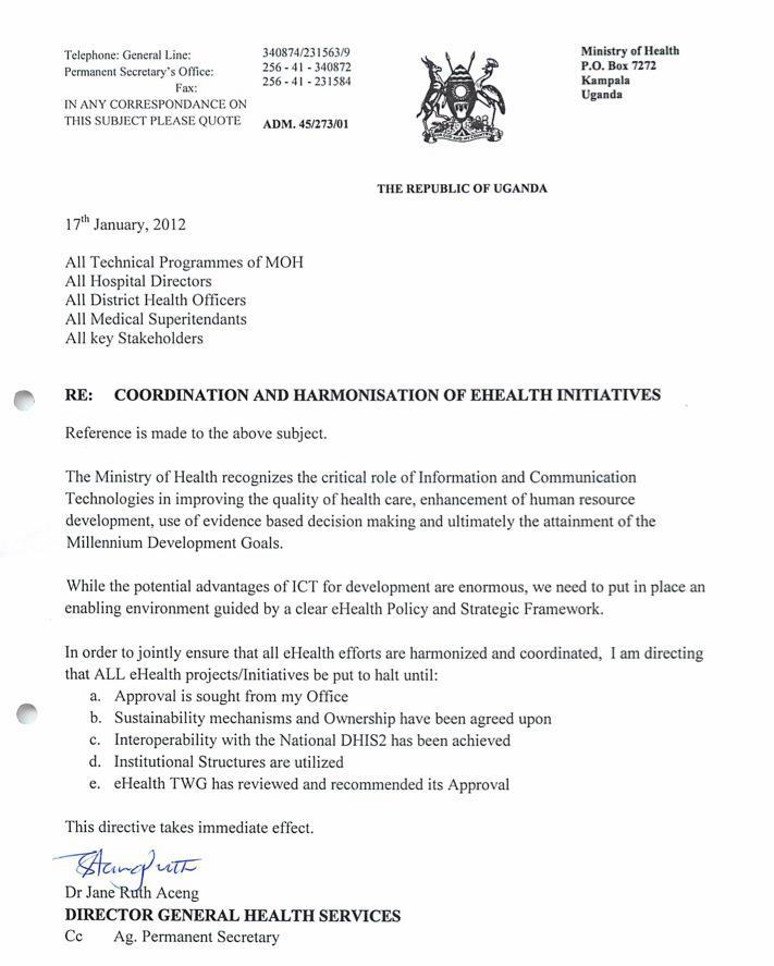 The letter from Uganda's Minister of Health.