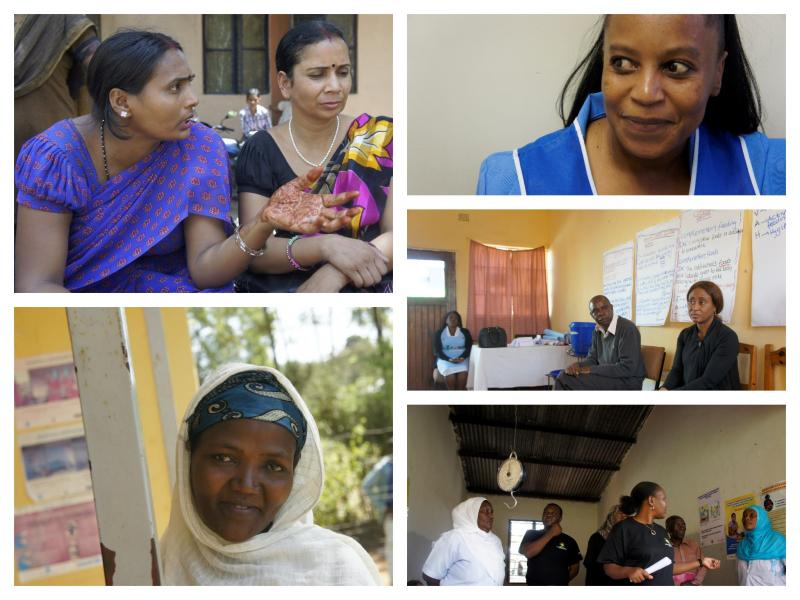 Frontline health workers I have met throughout the years. Left to right: Angawadi workers in Delhi, a family planning health worker in Johannesburg, a member of the Health Development Army in Hawassa, Ethiopia, hospital administrators in Lusaka, Zambia, and nurses in Morogoro, Tanzania. Photo courtesy of Jennifer James.