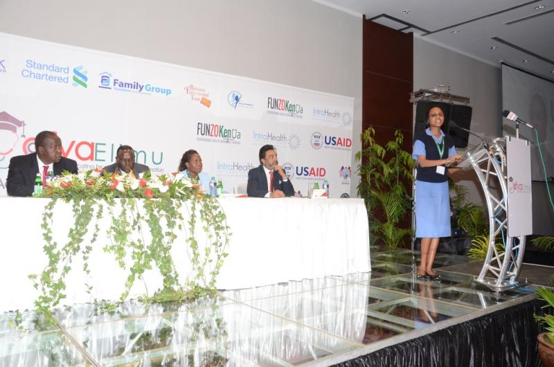 Mercy Wangui Kariuki speaks at the launch event for the Afya Elimu Fund in Nairobi, Kenya. Courtesy of Peter Abwao for IntraHealth International.