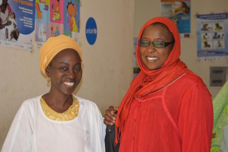 Stephanie Coly, midwife and tutor trained in Tutorat at Sor Health Post and Ms. Fatime Fall Ba, district reproductive health coordinator. Photo by Hawa Talla for IntraHealth International.