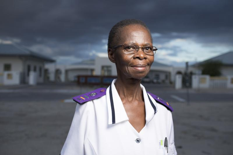 "Shirley Mwellie, 69. Omuthiya District Hospital, Namibia. ""We don't want to sit,"" Mwellie says. ""We want to do."" Photo by Morgana Wingard for IntraHealth International."