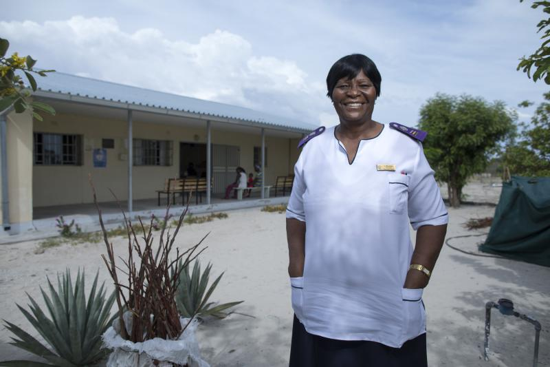 "Sofia Mbandeka, 64. Olukonda ARV Clinic, Namibia. ""These patients like to be treated by older nurses,"" she says. ""Older nurses have more patience to listen to patients."" Photo by Morgana Wingard for IntraHealth International."