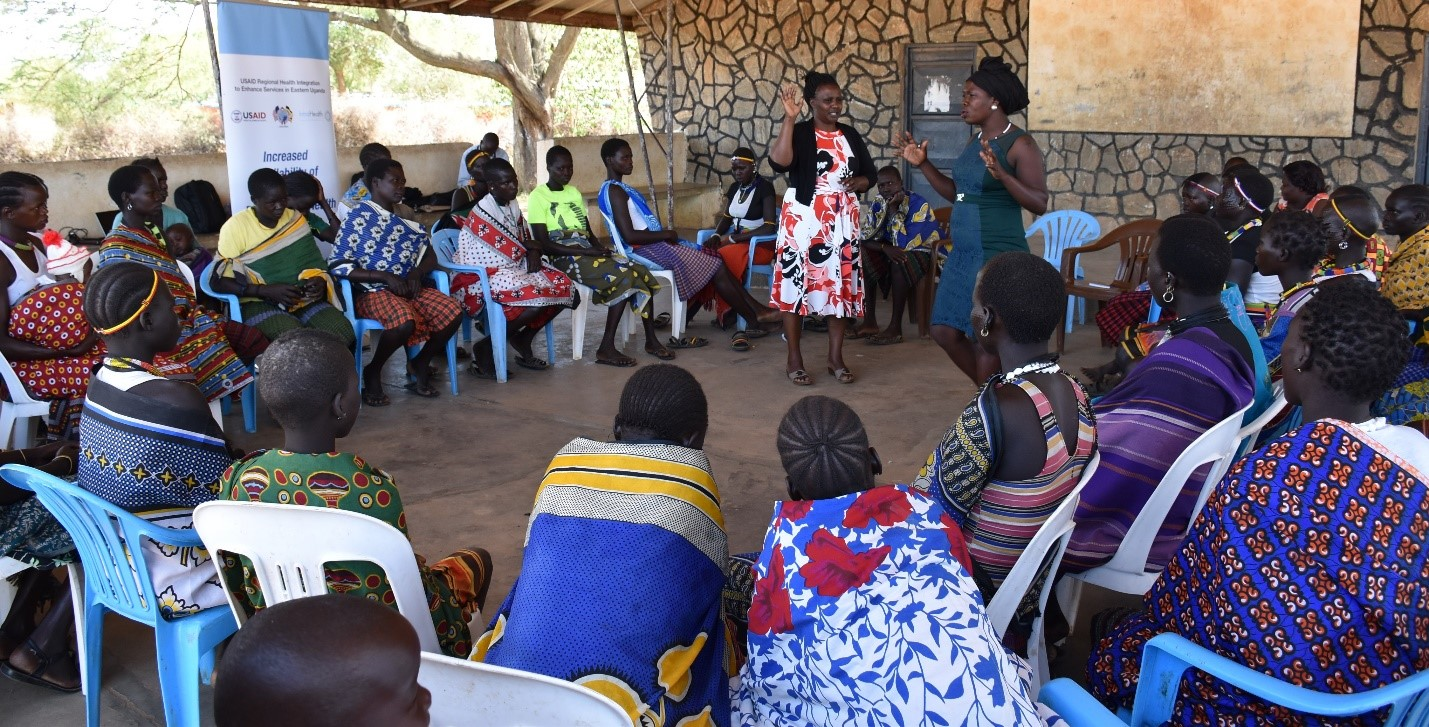 RHITES-E staff facilitates a group dialogue in Kotido Karamoja. RHITES-E focuses on young women and girls to ensure they receive appropriate health services.