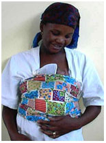 Mother and baby demonstrating an aspect of kangaroo mother care.