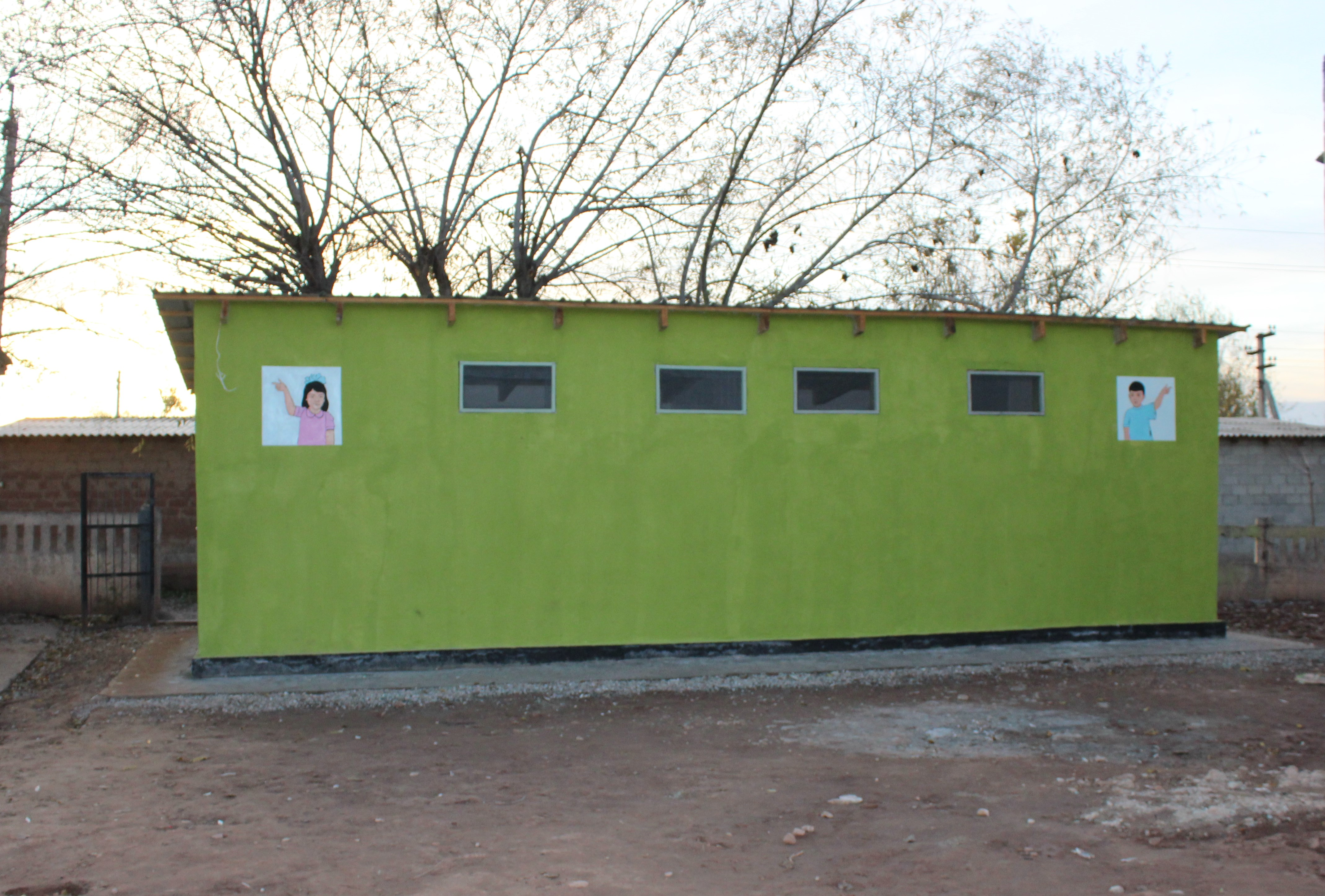 The new school latrines in Yovon district, Tajikistan. Photo by Komilova Khosiyatkhon for IntraHealth International.
