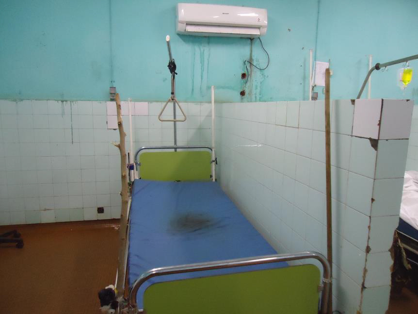 A bed in Point G, the largest public hospital in Mali.