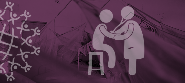 health worker examines client graphic