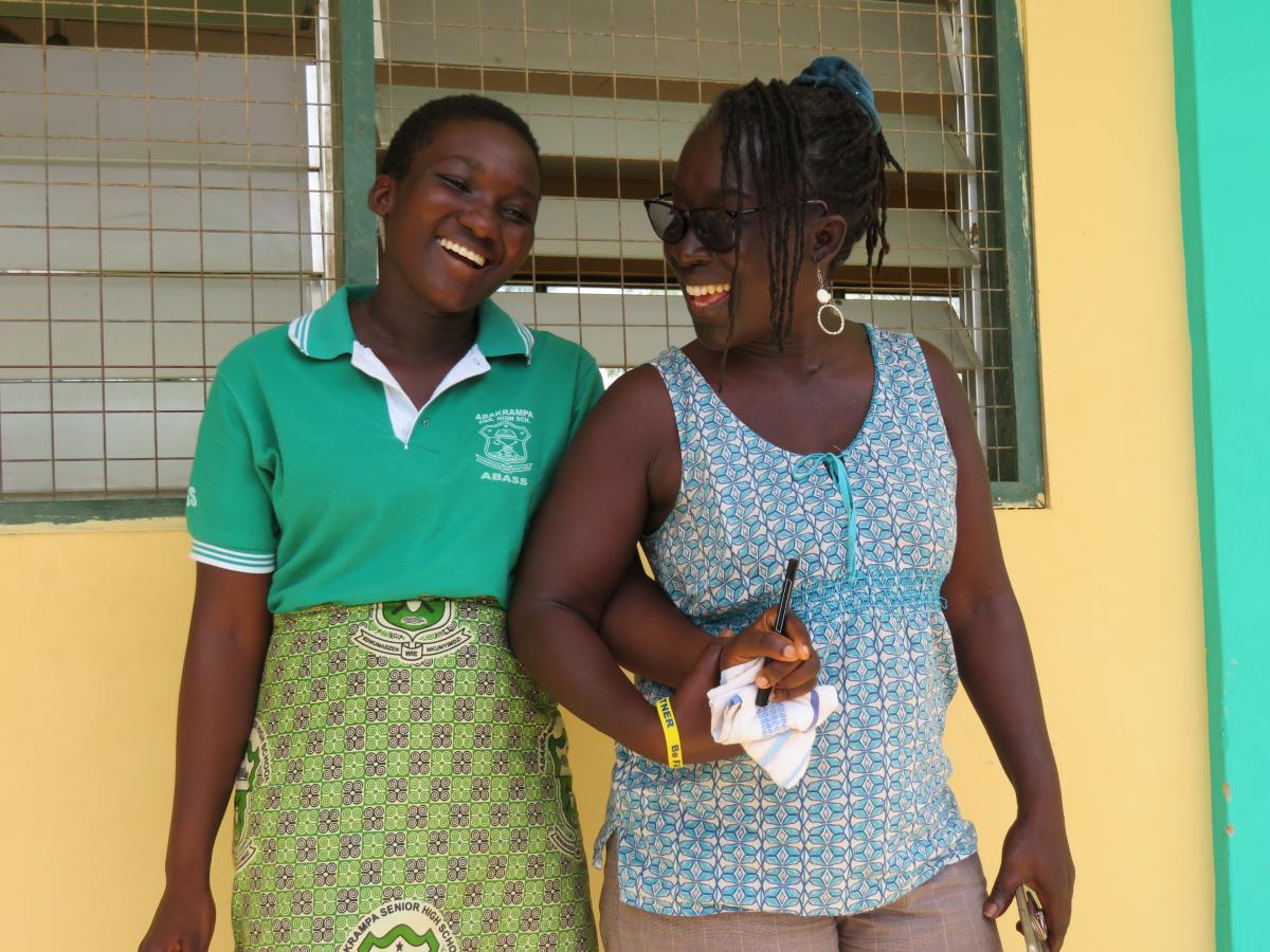 "Rejoice discusses her future with Julia Duodu, who supports the young mother as she looks forward and up. ""My dream is to become a journalist. I want to be a TV presenter doing news and other reporting on stories about women and their rights."" Photo by Maryalice Yakutchik."