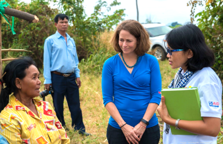 Polly Dunford, second from right, took the lead at IntraHealth International as Covid-19 arrived.